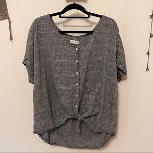 Linen Cotton Button Down Tie Top